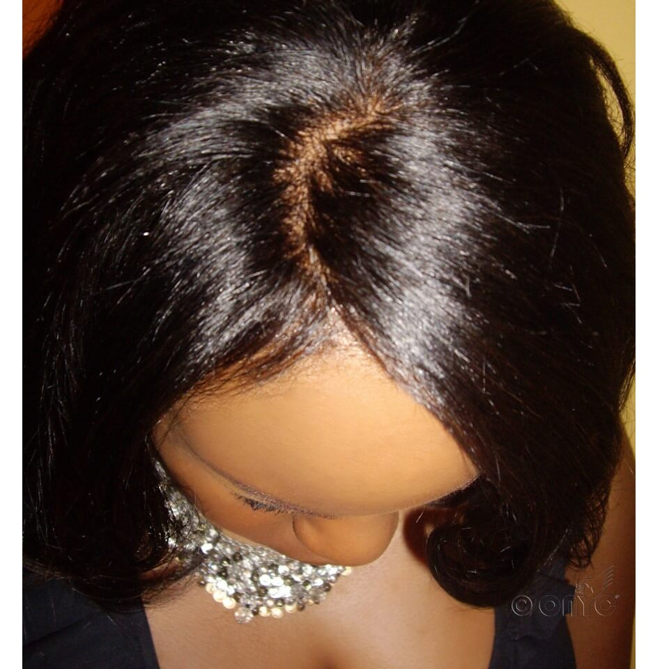 Alympia Wearing ONYC Hair Relaxed Perm Upclose Closure