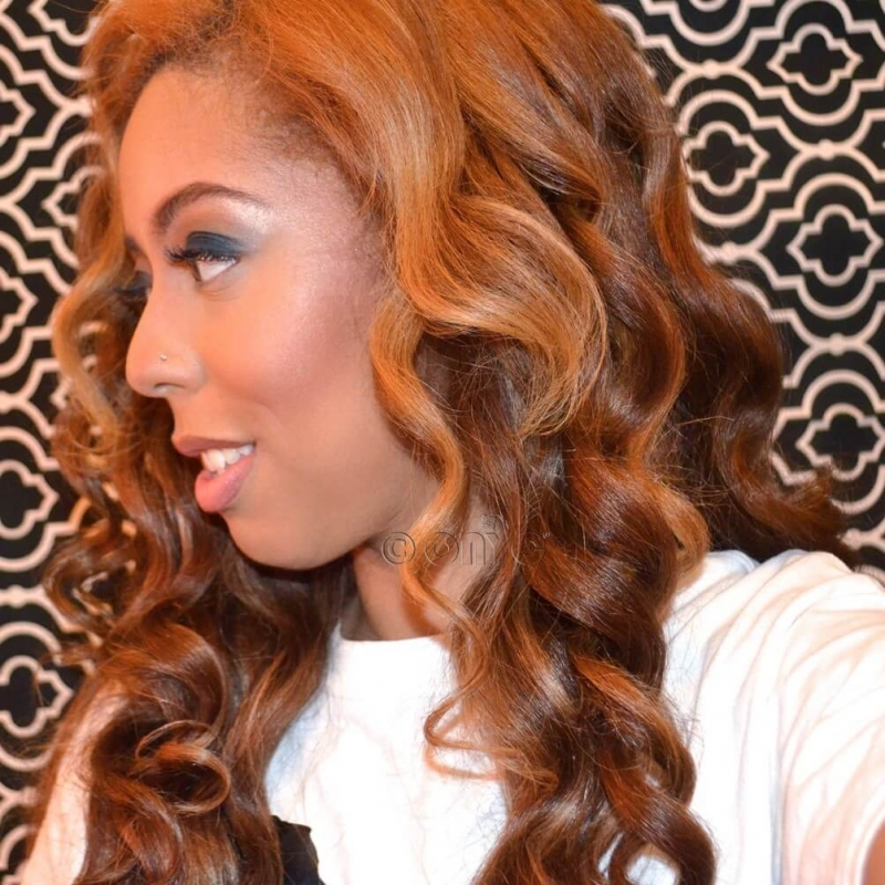 Beautiful ONYC Happy Customer Lexi Rocking Fro Out Colored Kinky Straight Curled
