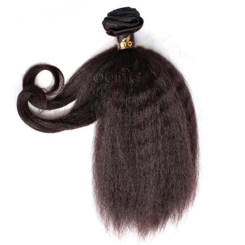 Fro Out™ Kinky Straight Machine Weft Showing Curls