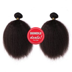 Kinky Straight Hair Bundle Deals Virgin Fro-Out Hair Extensions Fro Out Kinky Straight Bundle Deal