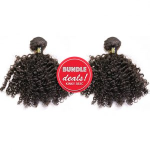 Kinky Curly Bundle Deals Machine Weft Kinky Curly Bundles with Closure KINKY 3B3C Bundle Deal
