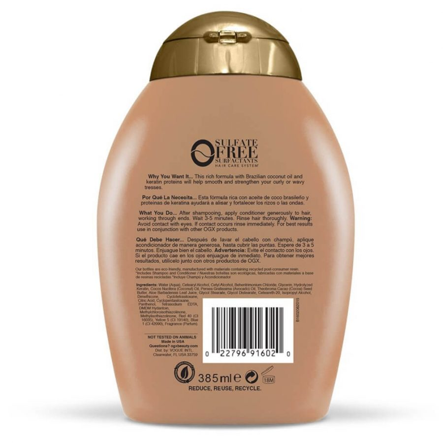 OGX Ever-Straightening, best brazillian keratin therapy conditioner, brazilian blowout conditioner and best conditioner for relaxed hair