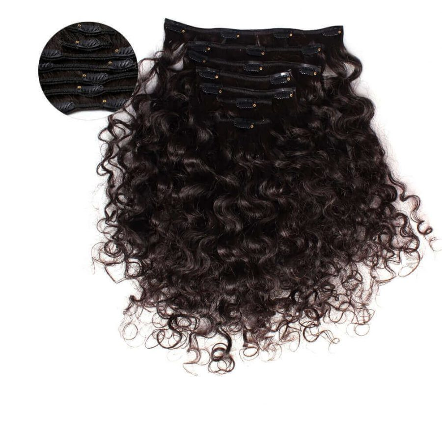 Deep Curly Clip In Hair Extensions ONYC 7 Piece Clip In Curly Addiction 3B Deep Curly Hair