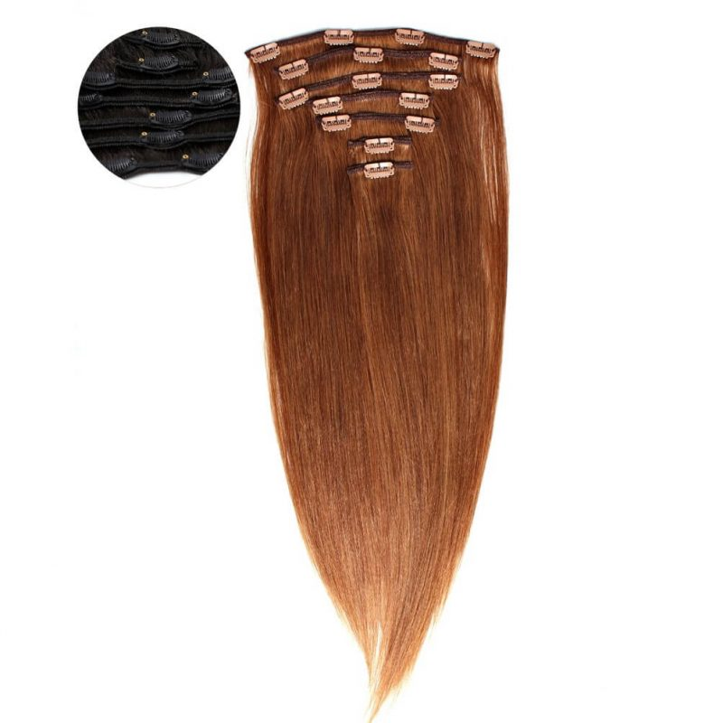 ONYC 7 piece Clip in Light Relaxed Perm Hair Colored