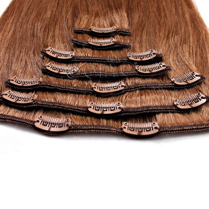 ONYC 7 Piece Clip In Light Relaxed Perm Hair Colored Clip View2