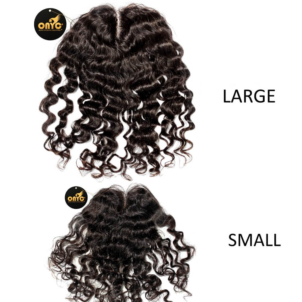Deep Curly Frontal Closure Piece ONYC Curly Addiction 3B Deep Curly Hair Lace Frontal Closure Small And Large