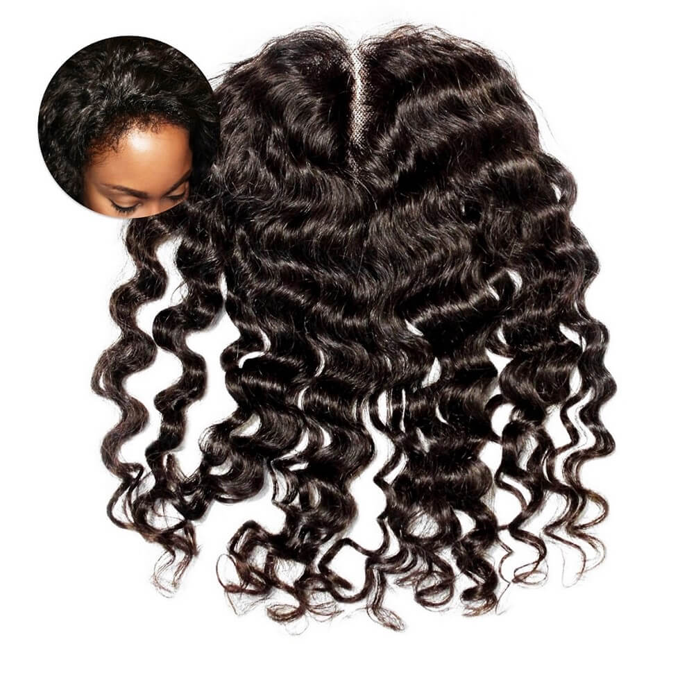 Deep Curly Frontal Closure Piece ONYC Curly Addiction 3B Deep Curly Hair Lace Frontal Closure