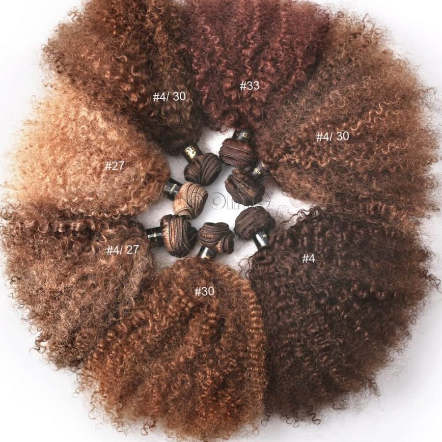 Colored Kinky Curly Hair Weave Extensions ONYC Hair dyed Natural Kinky 3B3C Hair Weave Extensions ONYC Hair Kinky 3B 3C™ Colored Hair Bunch Color Name