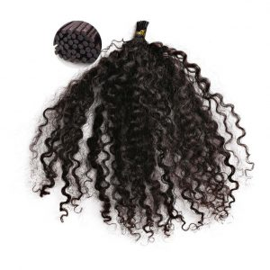 Kinky Curly I Tip Hair Extensions Method. Pre-Tipped, strand by strand. ONYC Hair Kinky 3B3C Perm I Tip