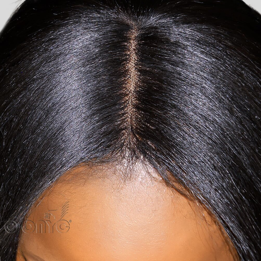 Relaxed Perm Straight Hair Frontal Closure ONYC Relax Perm Frontal Closure Installed