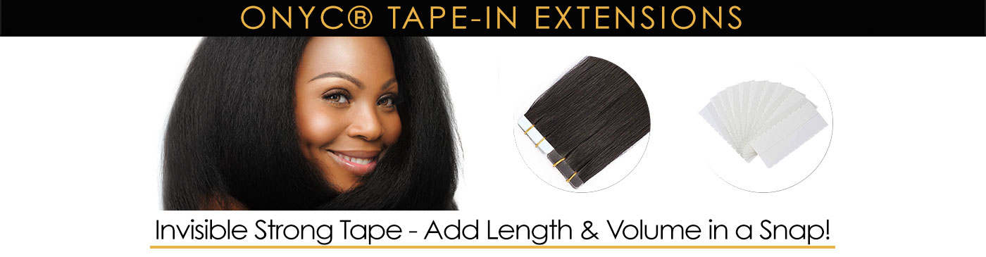 Tape in hair extensions for black hair Tape In Extensions Category Banner ONYC Hair Extensions