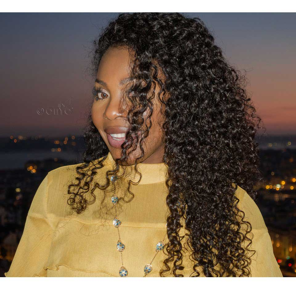 Thelma Okoro Wearing Curly Addiction 3B In Lisbon Portugal