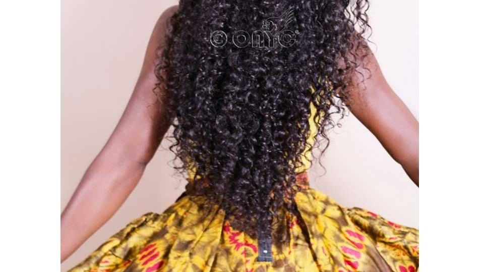 Curly Weave Hair Style ONYC Curly Hair Extension Gallery Thelma Okoro Wearing Curly Addiction 3B With African Print Skirt2