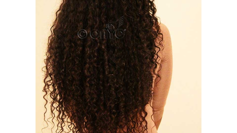 Curly Weave Hair Style ONYC Curly Hair Extension Gallery Thelma Okoro Wearing Golden Collection Curly Addiction 3B In Color 2 And 4 Back View