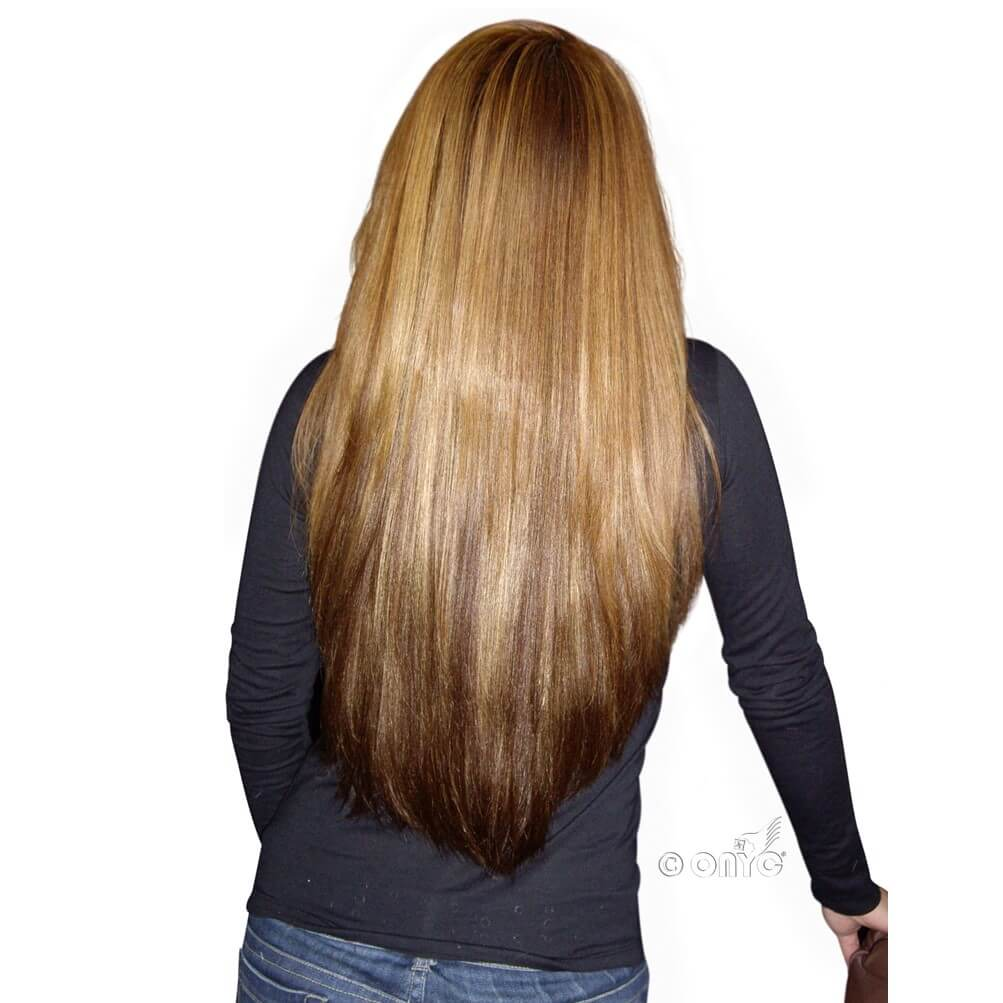Virgin 1B Silky Straight Colored Hair Extensions Back View
