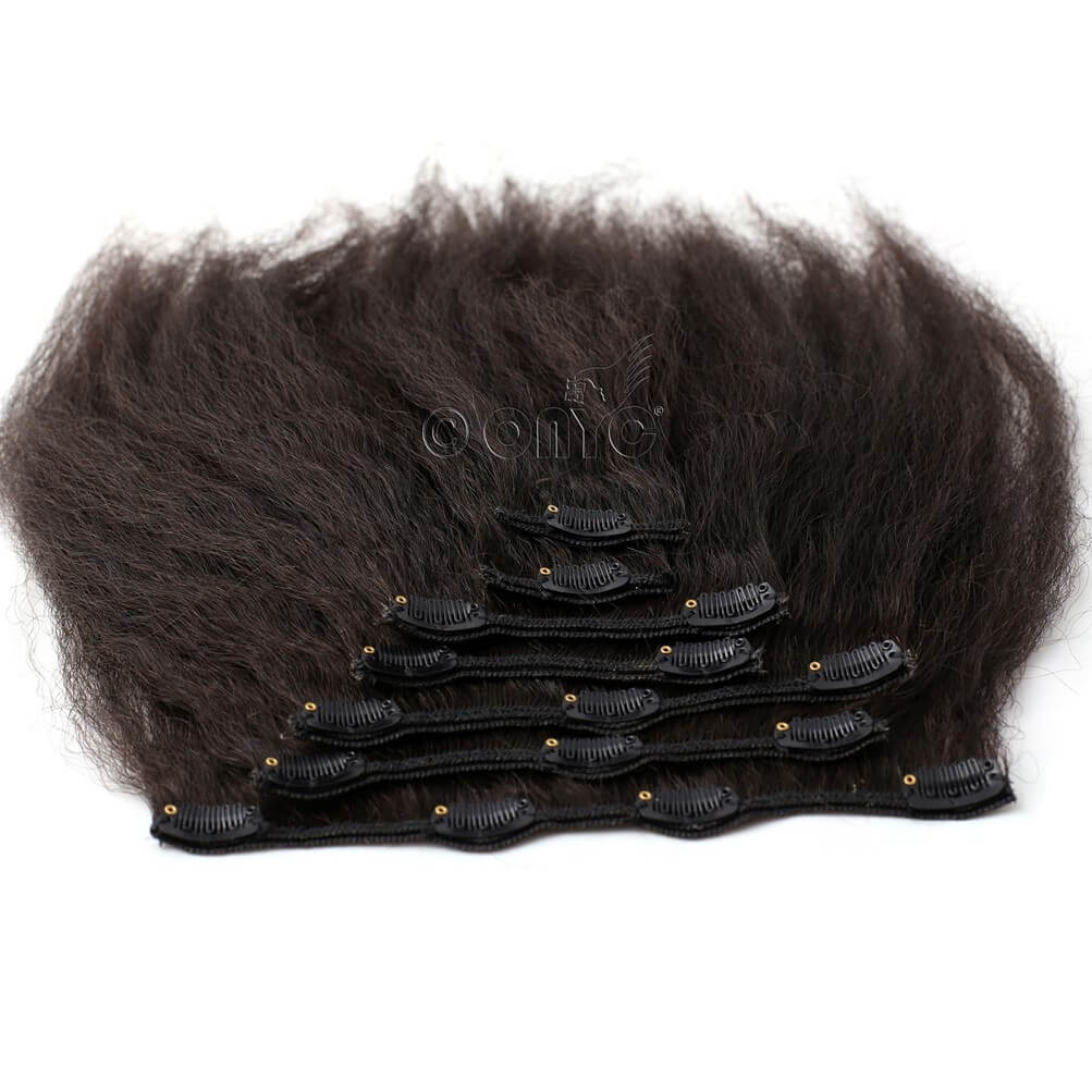 Kinky Straight Clip In Hair Extensions Virgin Hair Onyc 7 Piece Clip In Fro Out Kinky Straight Hair