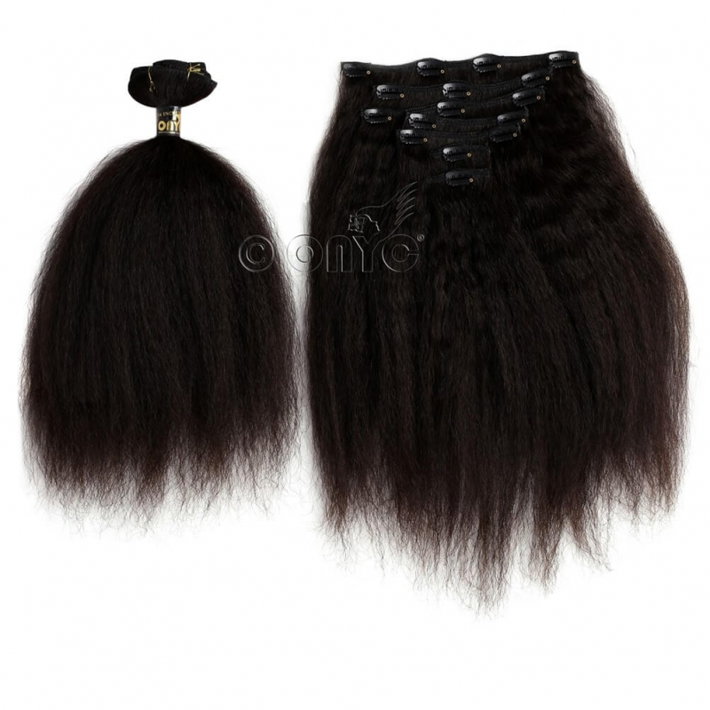 Onyc 7 Piece Clip In Fro Out Kinky Straight Hair Extensions
