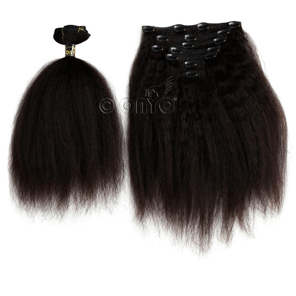 Kinky Straight Clip In Hair Extensions Virgin Hair Onyc 7 Piece Clip In Fro Out Kinky Straight Hair Extensions