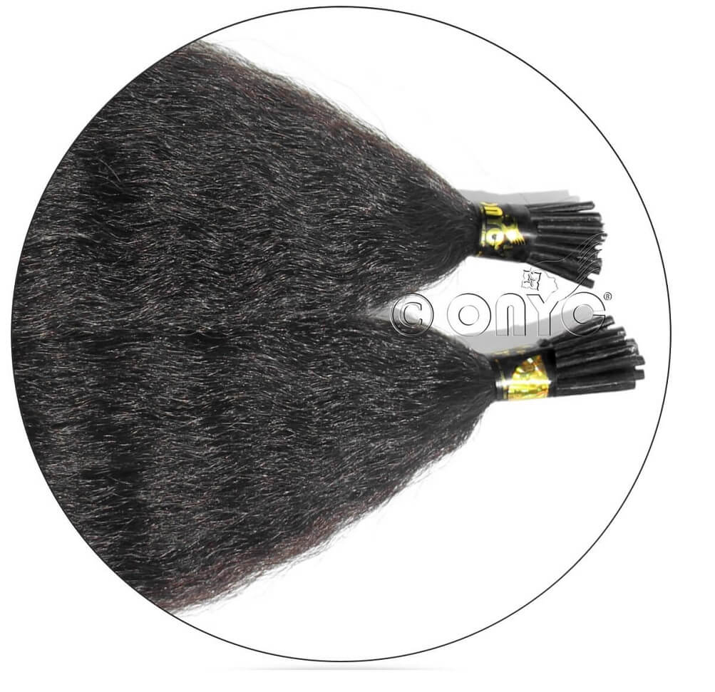 Kinky Straight I Tip Hair Extensions Cuticle Virgin Hair match to healthy-looking Dominican blowout look. Onyc Fro Out Kinky Straight I Tip